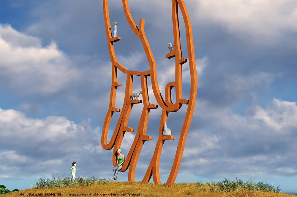 kunst openbare ruimte Texel. Monument dijkversterking kunstwerk Bloklugthart