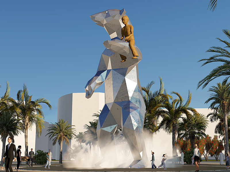 Kunst openbare ruimte BlokLugthart, Abu Dhabi, bas lugthart, maree blok